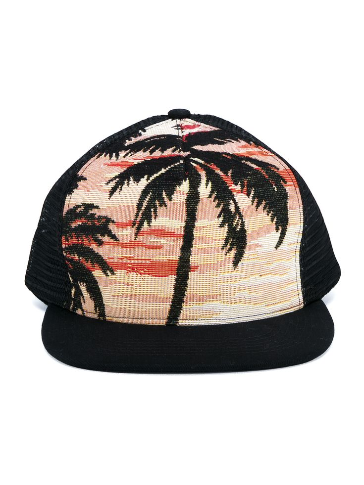Saint Laurent Trucker Hat Palms At Sunset Baseball Cap