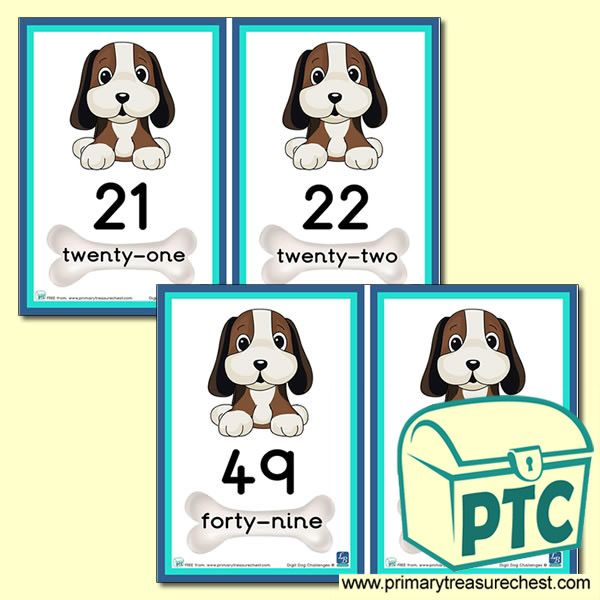 Digit Dog Number Line 21 To 50 In 2020 Number Line Math Challenge Child Teaching