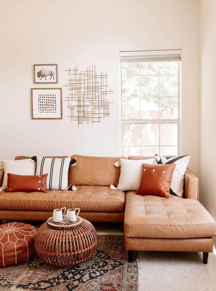 Welcome At Home With August Sage Founder Lily Lei In 2020 Leather Couches Living Room Brown Leather Couch Living Room Boho Living Room