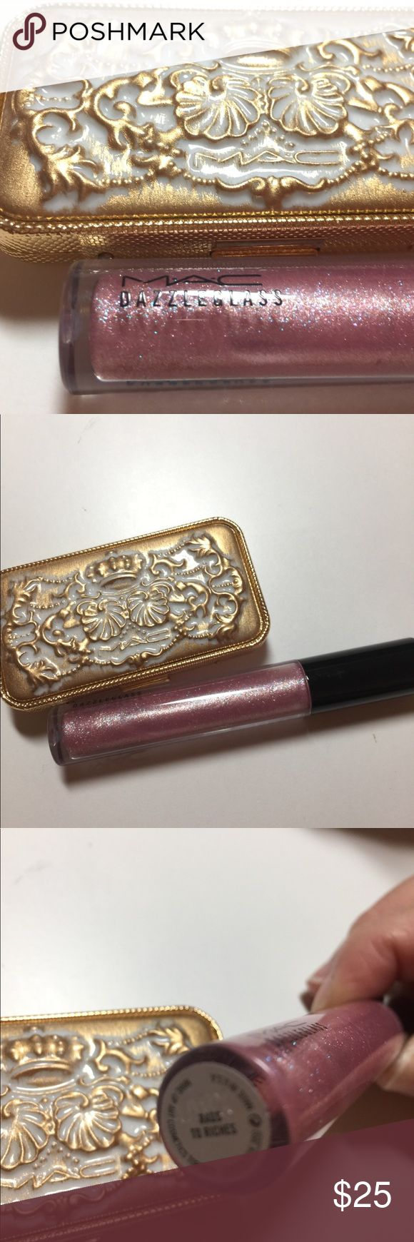MAC lipstick and  dazzle glass lip gloss combo Royal asset palette never touched 3 Tan lips 1 gloss pure pomp 2 lipstick sceptre and privee  one dazzle glass rags to riches. barely used MAC Cosmetics Makeup Lip Balm & Gloss