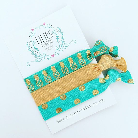 ABOUT ............ Turquoise, pineapple hair ties.  These creaseless hair ties are the perfect birthday gift, party favour, stocking filler or treat for yourself!  This pretty set of ponytail holders is perfect for children and adults alike.  The pack includes 3 handmade hair ties using