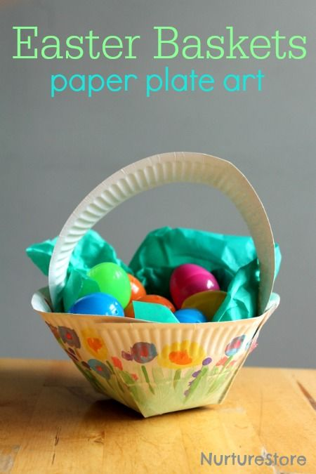 How to make an Easter basket paper plate craft - love how each child can add their own art to this.