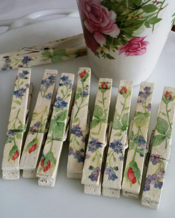 Decoupage clothespins! Shabby Chic darling...