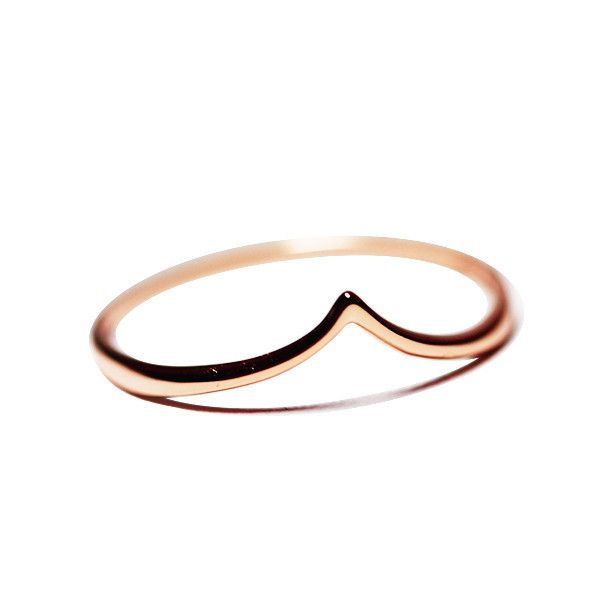 """Peaky"" Rose Gold Vermeil Thin Band Ring 