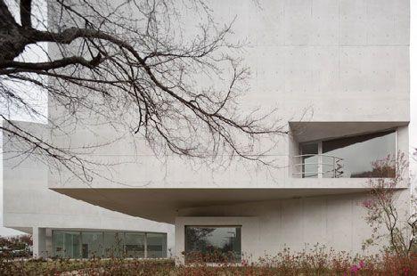 Pale concrete at Mimesis Museum Álvaro Siza