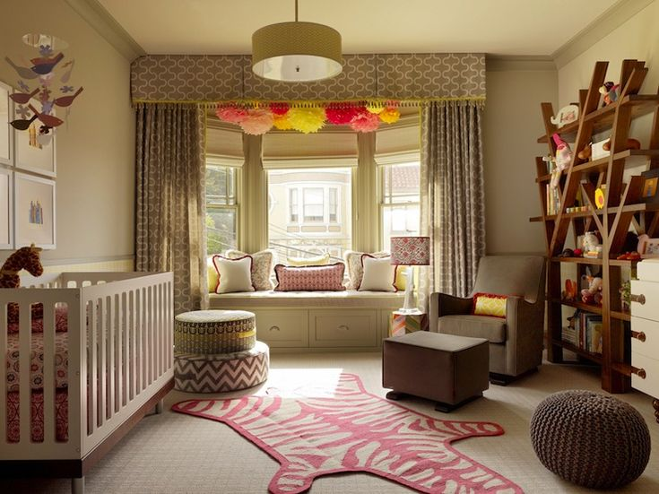 Window treatment ideas for bay windows with window seat in baby room
