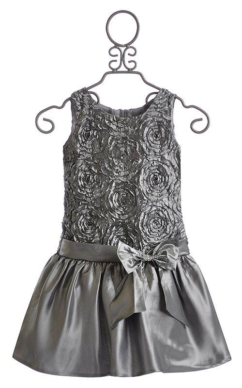 Isobella and Chloe Girls Drop Waist Dress in Silver $48.00