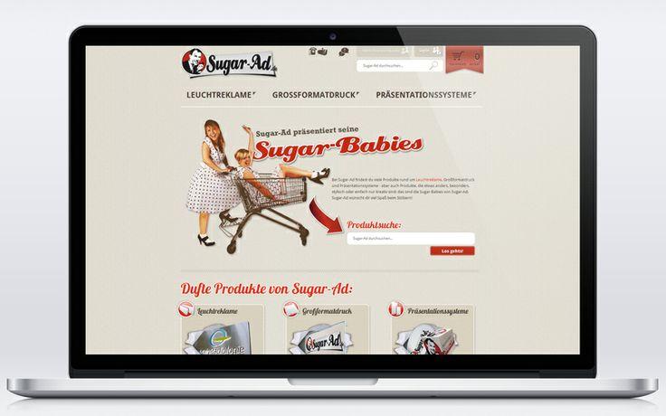 Online-Shop für Leuchtreklame und Werbetechnik im schicken Retro/Vintage-Design.  www.sugar-ad.de