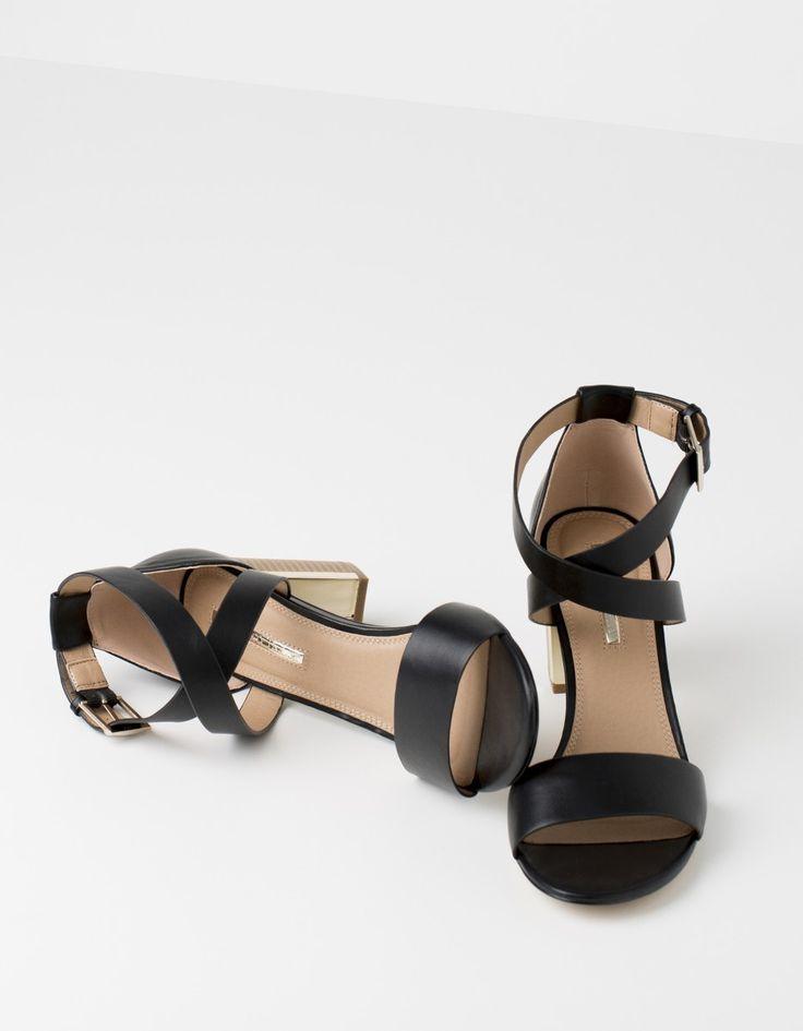 Sandalias tacón metalizado | Blanco
