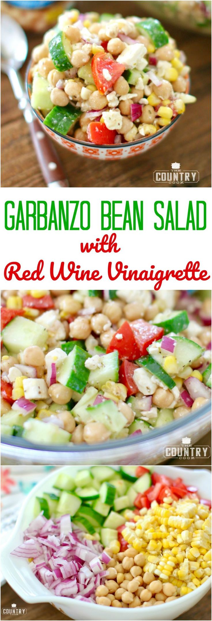Garbanzo Bean Salad with Red Wine Vinaigrette recipe from The Country Cook with @bushsbeans #ad