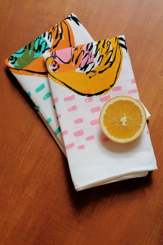 """CABIN MODERN'S 100% IRISH LINEN TEA TOWELS FEATURE A VINTAGE-INSPIRED ORIGINAL BIRD DESIGN. HAND-PRINTED IN NY, EACH TOWEL MEASURES APPROXIMATELY 18X30"""". IRISH LINEN'S EXTREMELY DURABLE AND WILL WEAR AND SOFTEN BEAUTIFULLY OVER TIME.CHOOSE FROM:* BIRD PRINT IN PINK AND YELLOW WITH ORANGE ACCENTS* BIRD PRINT IN TURQUOISE AND ORANGE WITH GREEN ACCENTS"""