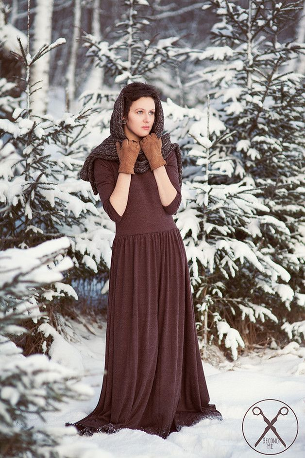 Ethical Dresses – Brown Warm Maxi Dress – a unique product by secondme on DaWanda