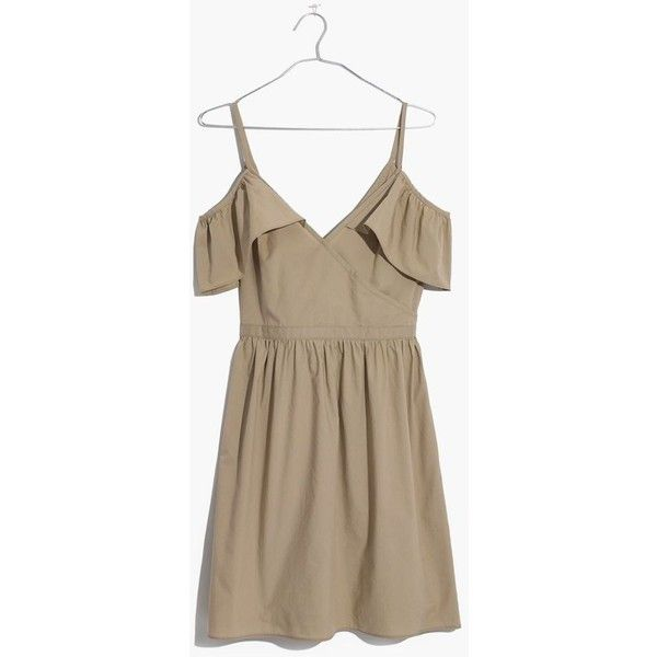 MADEWELL Khaki Cold-Shoulder Ruffle Dress ($98) ❤ liked on Polyvore featuring dresses, ash green, cut out shoulder dress, green ruffle dress, green dress, cold shoulder ruffle dress and frilly dresses