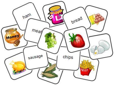Jeu de mémory nourriture anglais consultez aussi: http://www.esolcourses.com/content/topics/college/classroom/classmatch.html