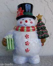 Certified International Ceramic 3D Snowball Snowman Cookie Jar Geoffrey Allen