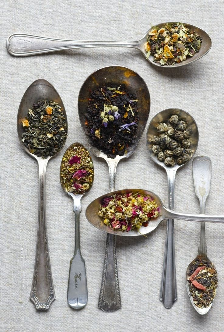 Loose leaf tea & vintage spoons.