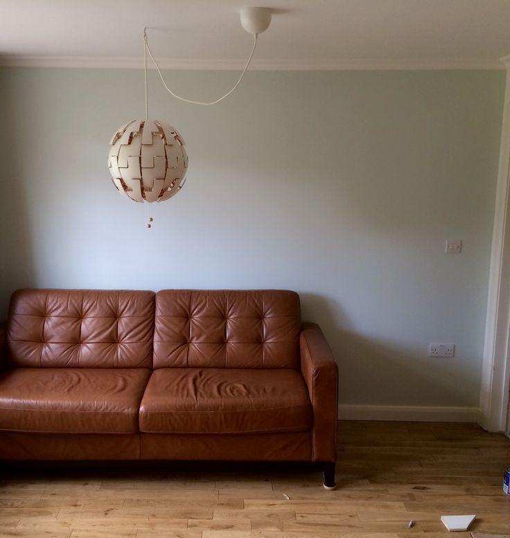 Leather sofa wood floor IKEA lamp