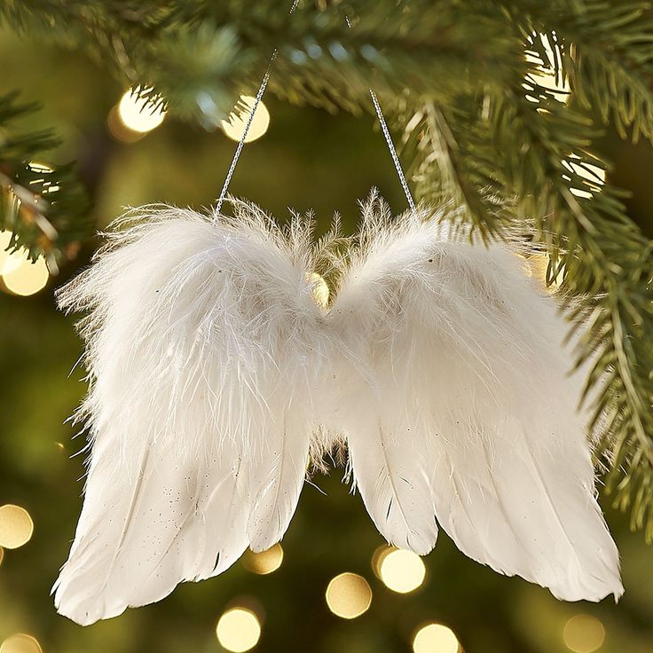 Feather angel wings ornament christmas trees wings and for Angel christmas tree decoration