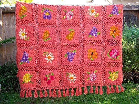 RESERVED FOR MISSMARPLETOO Vintage afghan blanket by dahlilafound
