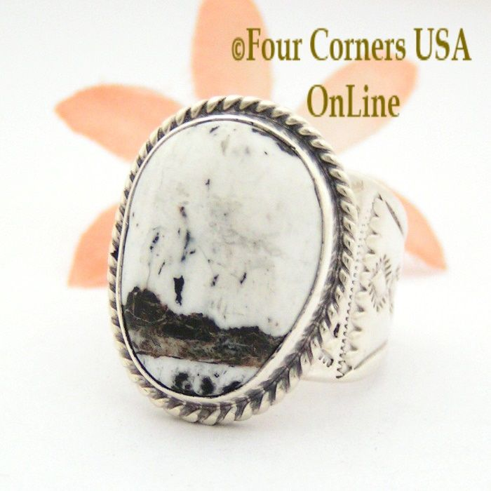 Native American Silver Ring Band With Turquoise Buffalo