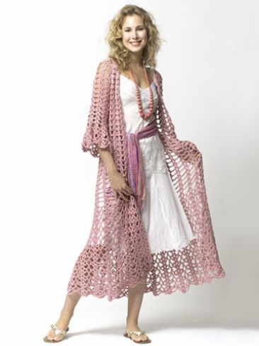 Lacy Duster | Yarn | Free Knitting Patterns | Crochet Patterns | Yarnspirations..Needs some color