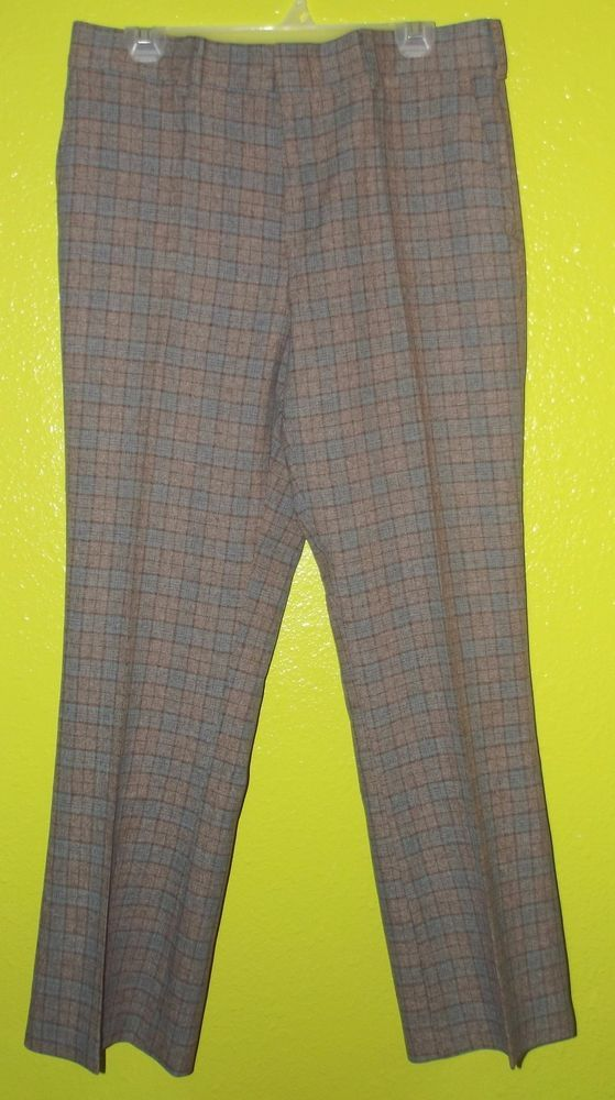Vintage DISCO 70's Plaid leisure Golf pants 34 x 30 polyester RAD #Unbranded #CasualPants
