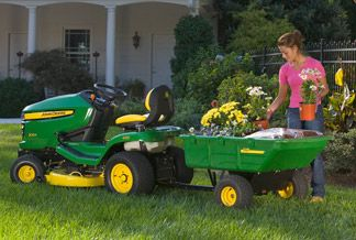 Great riding mowers and attachments from John Deere on up to the big boys on display here all week!