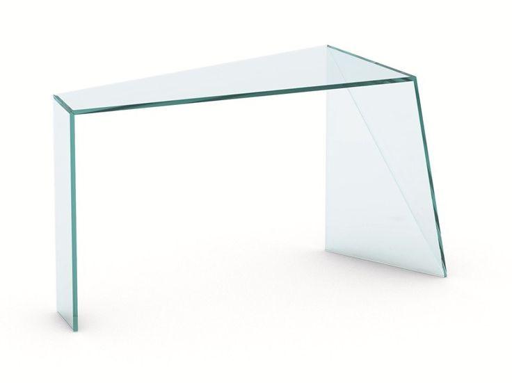 Glass console table Penrose Collection by T.D. Tonelli Design | design Isao Hosoe, Lucia Fontana, Masaya Hashimoto