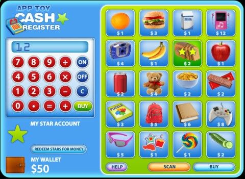 Test Apps - App Toy- Cash Register ($0.00) Test your budgeting skills and play along with your Cash Register game. To earn a high score in the game, you will need to buy every item that appears on screen! Either scan your items QCR Codes (App gadget sold separately) or choose from the on screen menu. Use the cash register to calculate the amounts you need to win the game. Each item has a different star value which you earn along with your purchase. Accumulate enough Stars to redeem for...