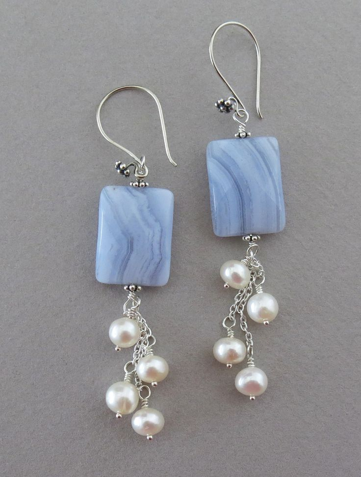 Blue lace agate and pearl earrings