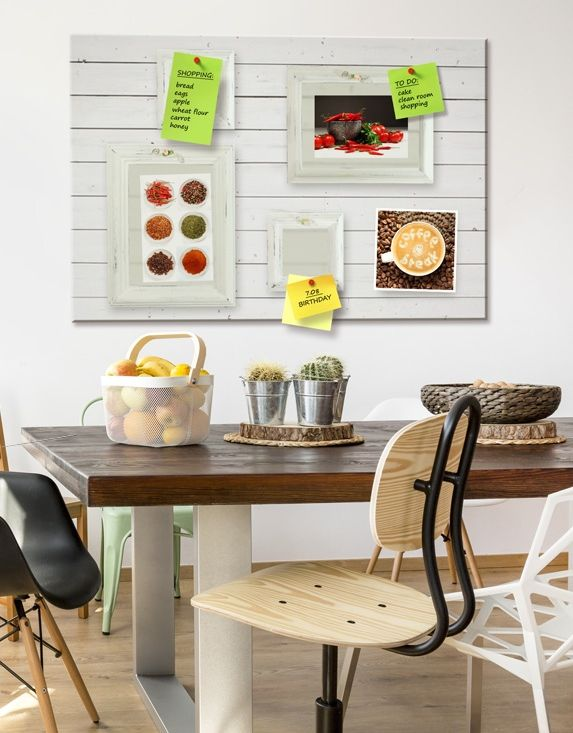 Need a space for kitchen notes? Try decorative pinboard on cork from bimago - cork board available in different colours and sizes