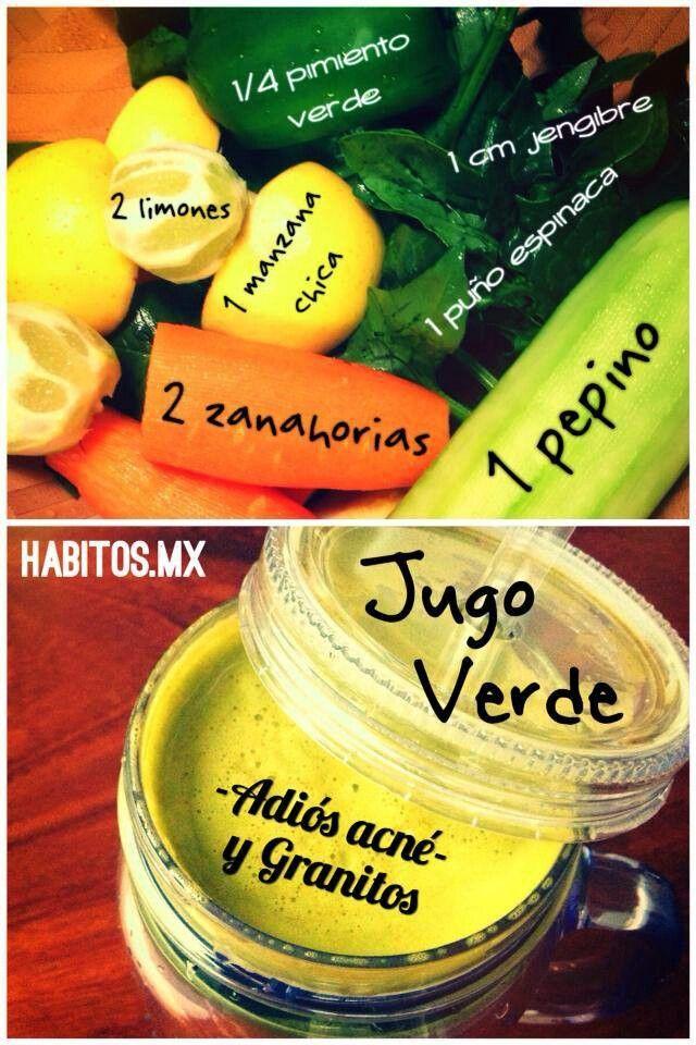JUGO VERDE para acne o granitos en la cara... de Habitos.mx