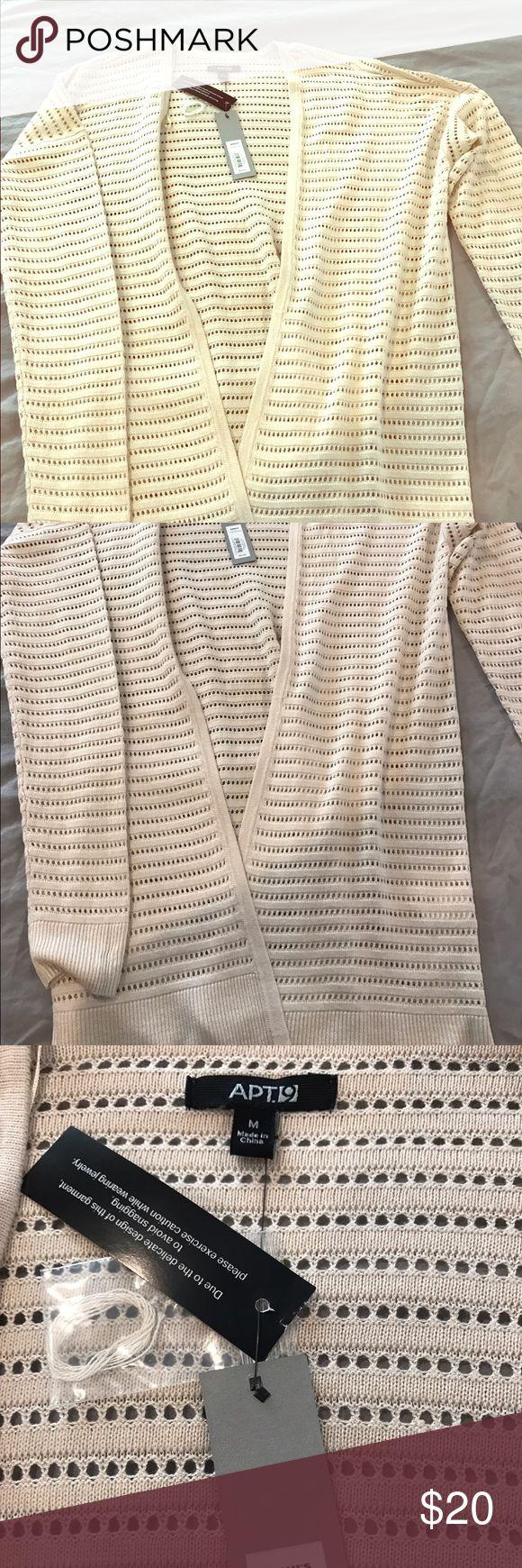 APT 9 NWT long Cami sweater jacket Long Ivory/beige Cami sweater NWT size Med Apt. 9 Sweaters Cardigans