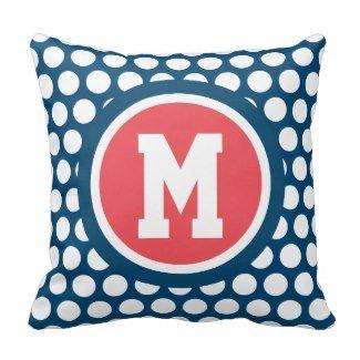 Monogramm-Tupfen-Marine-Blau-weißes Rot Kissen