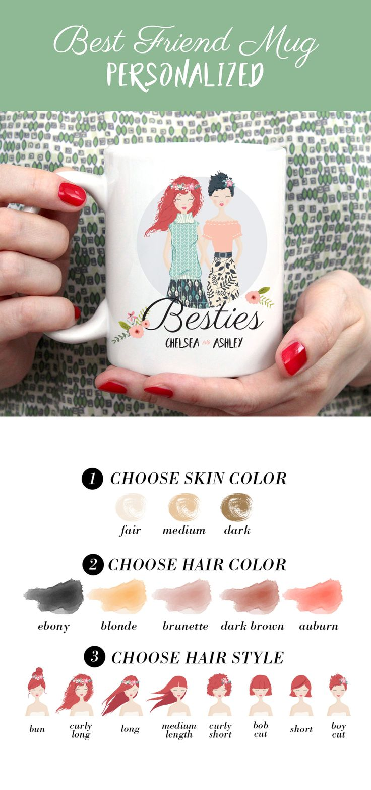 The BEST best friend gift idea ever! Personalized mug with your custom illustrations! Change skin color, hair style & color!