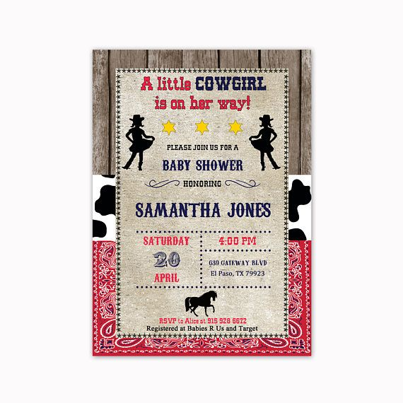 Cowgirl Baby Shower Invitation Western Baby Shower