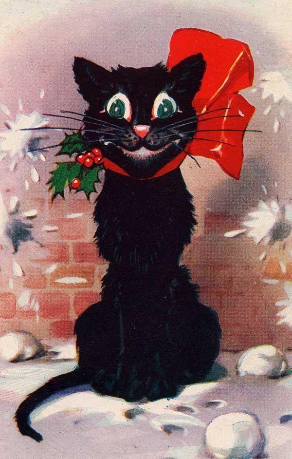 Открытки с черной кошкой