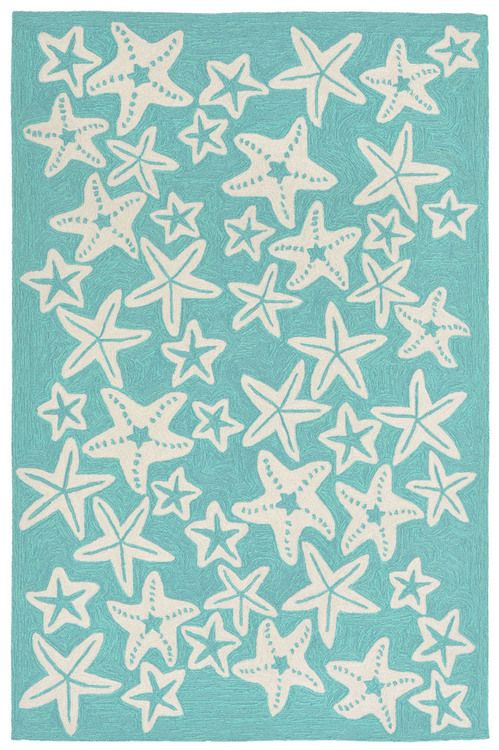 Add a sense of seaside enchantment and coastal color with this new Aqua Starfish Rug!