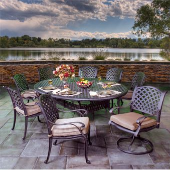 Outdoor Patio Furniture, Stonegate Cast Aluminum Cushioned Patio Groupings    American Sale