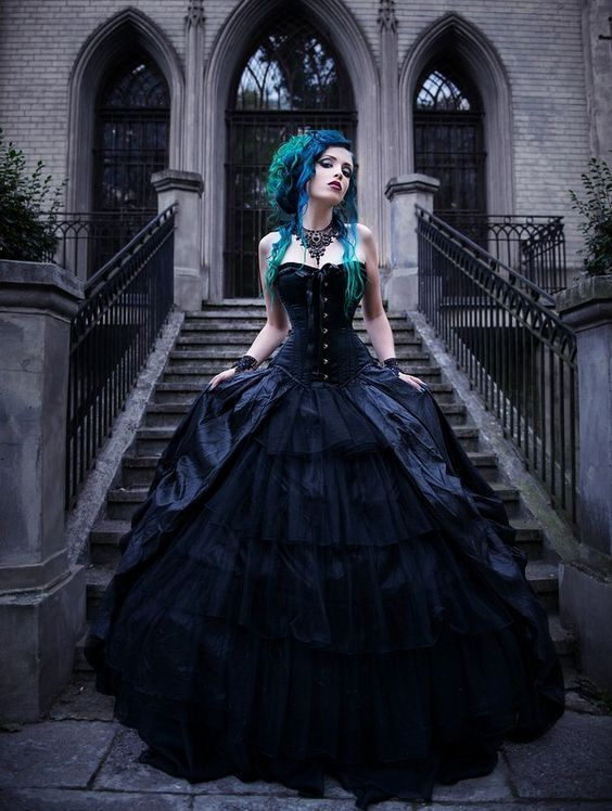 weddingdresses » 18 Non-traditional Black Gothic Wedding Dresses to Love! 94e4461dce59