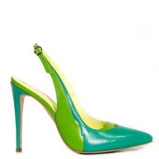 pantofi decupati la spate 1531 verde