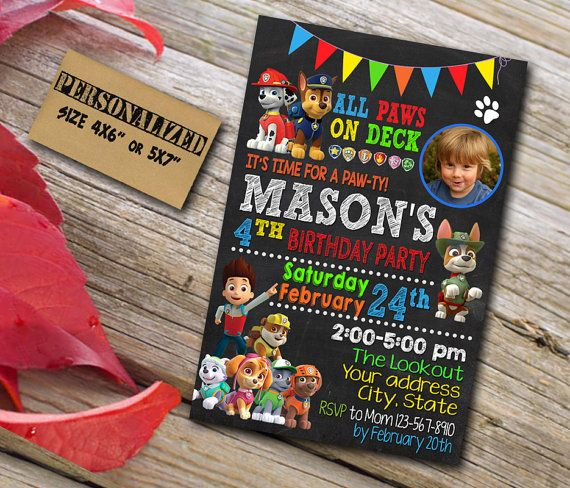 15 best paw patrol invites thank u cards images on pinterest paw patrol invitation paw patrol birthday by clewerinvitation stopboris Choice Image