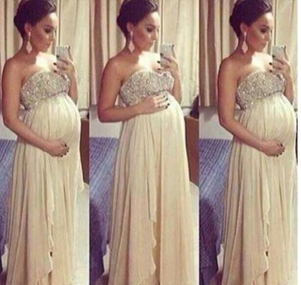 Long Maternity Sexy Backless Prom Dresses 2015 For Pregnant Woman A Line Beaded Top Sweetheart Floor Length Chiffon Formal Evening Dress Online with $99.18/Piece on Molly_bridal's Store | DHgate.com