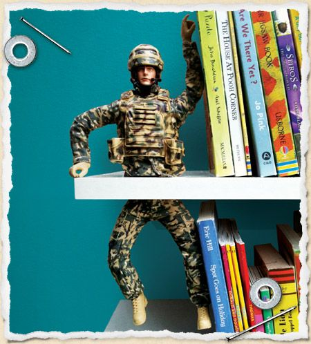 DIY fun book ends - i recon you could do this with any toy or figurine or even something more adult!Bookends Ideas, Kids Room, Fun Bookends, Joe Bookends, Awesome Bookends, Kid Rooms, Boy Rooms, Funny Adult Toys, Little Boys Rooms