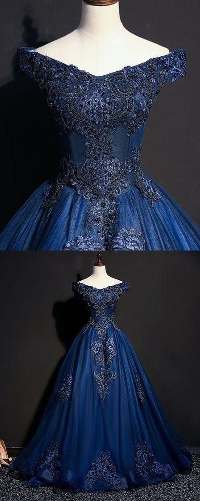 77af3ecf30e Navy blue tulle v neck off shoulder long customize prom dress