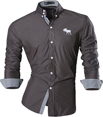 jeansian Uomo Camicie Maniche Lunghe Moda Men Shirts Slim Fit Casual Long Sleves Fashion 8558 Gray L