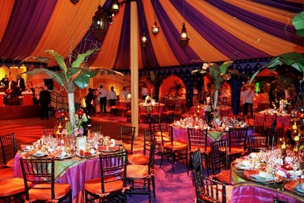 Purple and orange Indian Moroccan tent wedding