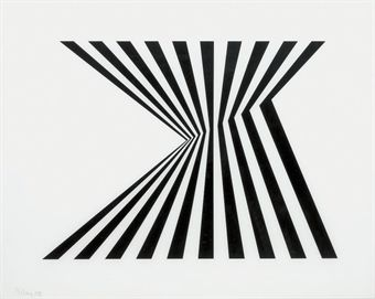 Bridget Riley (b. 1931)  Untitled (Fragment 1) (Schubert 5a)  screenprint in black and white, 1965, on perspex