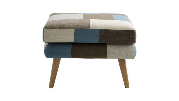 Bergman Ottoman In Patchwork Fabric, Living - Ottomans & Footstools - Ottomans