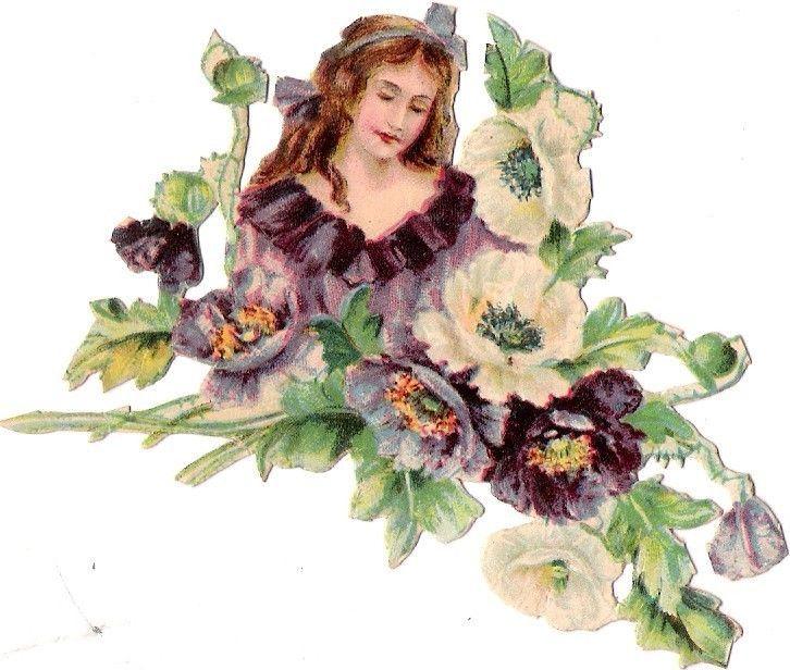 Oblaten Glanzbild scrap die cut chromo Dame lady femme 9,3cm Blüte blossom fleur